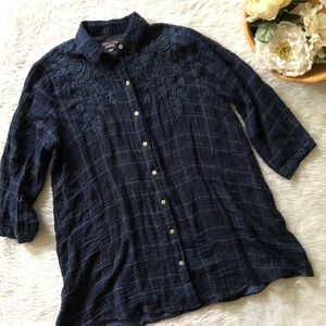 Johnny Was Blue Plaid Embroidered Top